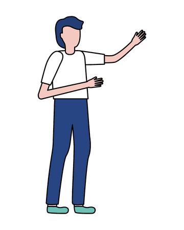 man gesturing hands on white background vector illustration 向量圖像