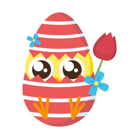 cute little chick with shell egg broken and rose vector illustration design