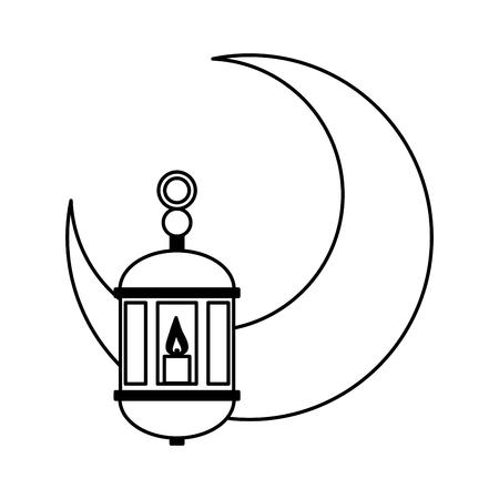 mezza luna e lanterne ramadan kareem celebrazione illustrazione vettoriale design Vettoriali