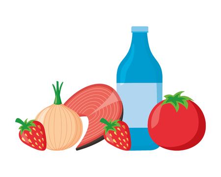 water bottle tomato onion fish world health day vector illustration Ilustração