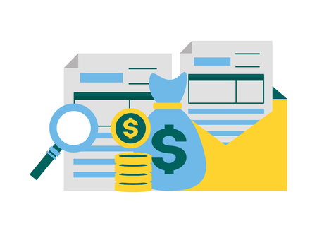 money bag coins analysis tax time payment vector illustration 일러스트