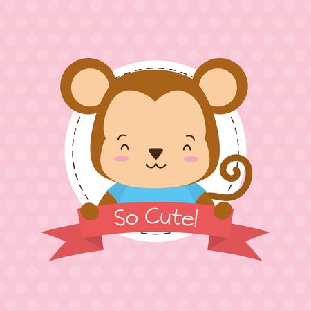 cute monkey animal cartoon sticker vector illustration design Illustration