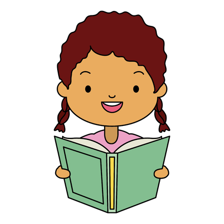 niña sosteniendo libro de texto - ilustración de vector de día mundial del libro Ilustración de vector
