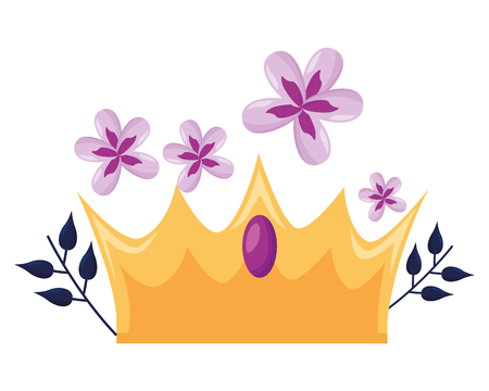 crown luxury flowers on white background vector illustration Stock Illustratie