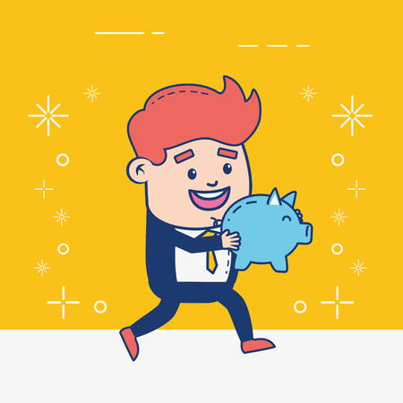 businessman piggy bank saving money coin vector illustration