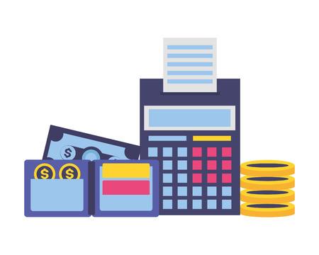 illustrazione vettoriale di pagamento delle tasse calcolatrice dei soldi del portafoglio