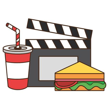 cinema sandwich soda clapboard fast food vector illustration design 向量圖像