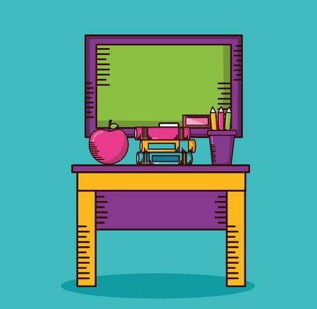 desk blackboard apple books teachers day vector illustration