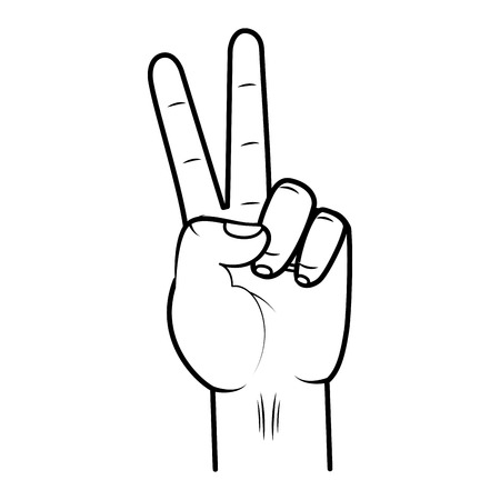 hand peace and love geature vector illustration Ilustracja