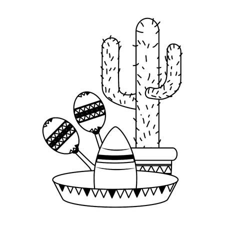 cactus hat maracas mexico cinco de mayo vector illustration Vettoriali