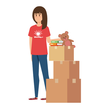 young woman volunteer with donations boxes vector illustration design Illustration