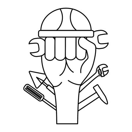 raised hand helmet tools construction vector illustration Stok Fotoğraf - 123055668