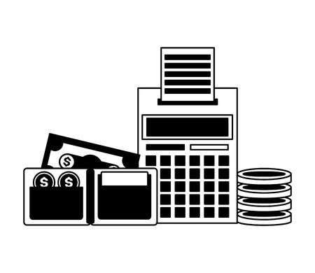 wallet money calculator tax payment vector illustration
