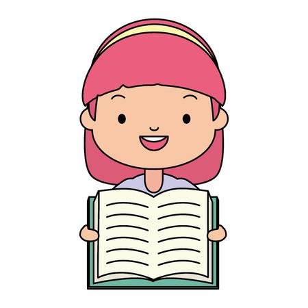 boy holding textbook - world book day vector illustration