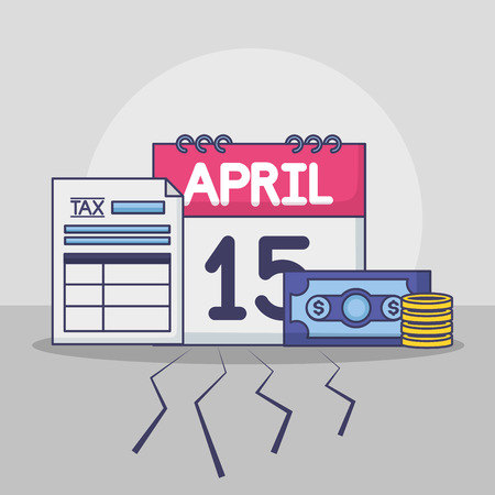 paper calendar banknote money tax payment vector illustration  イラスト・ベクター素材