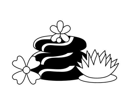 hot stones flowers spa treatment therapy vector illustration Illustration