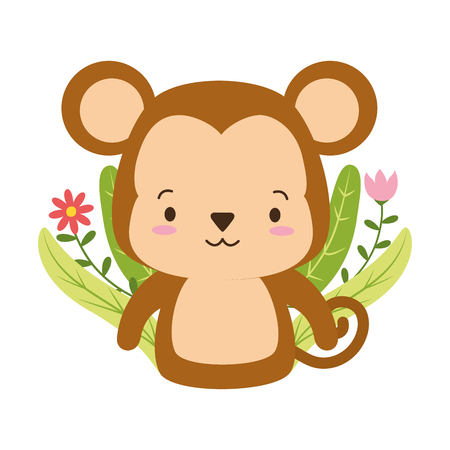 cute monkey cartoon flower leaves vector illustration design Illustration