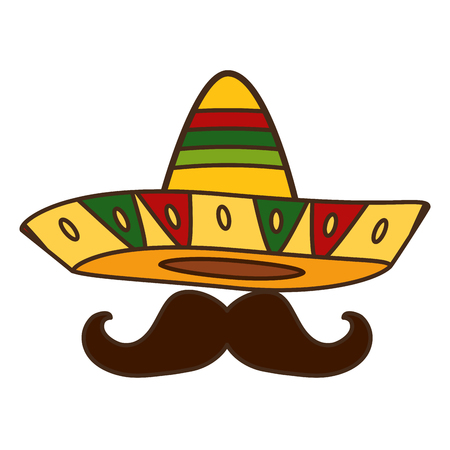 mexican hat with mustache design vector illustration Standard-Bild - 123055723