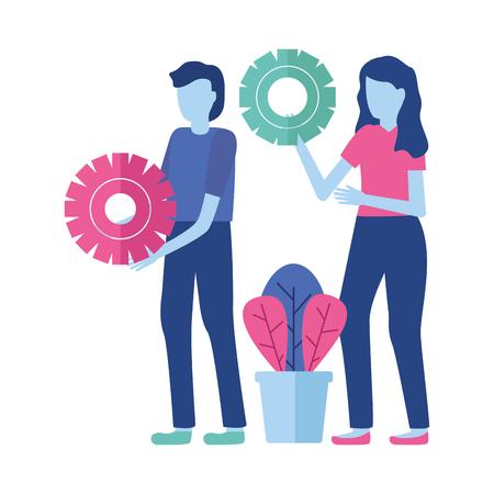 business people gears cooperation vector illustration design Ilustração