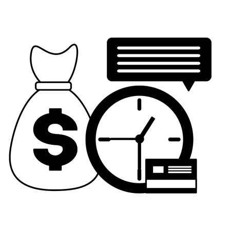 clock money bag bank card tax time payment vector illustration Stock Illustratie