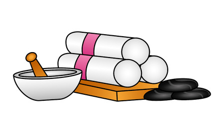 towels bowl stones spa therapy treatment vector illustration  イラスト・ベクター素材