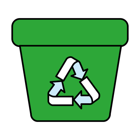 garbage pot with recycle arrows symbol vector illustration design