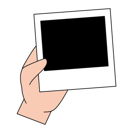 hand holding photo frame blank vector illustration design Illustration