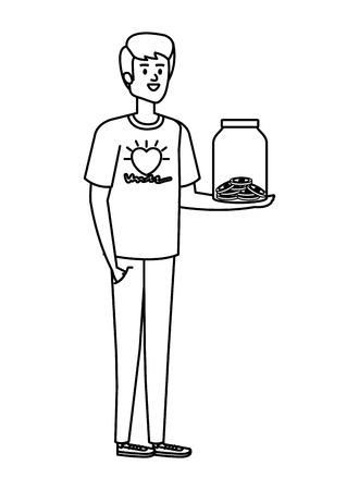 young man volunteer with donations coins in jar vector illustration design