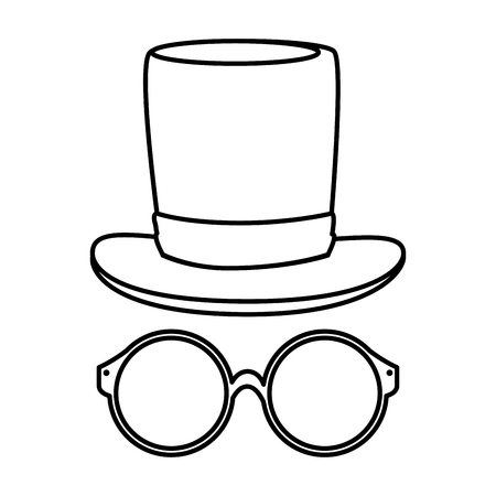 eyeglasses with tophat hipster style vector illustration design Stock Vector - 123055778