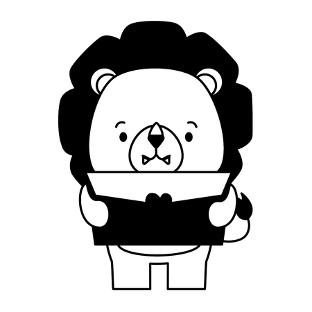 carino leone cartone animato posta amore illustrazione vettoriale Vettoriali