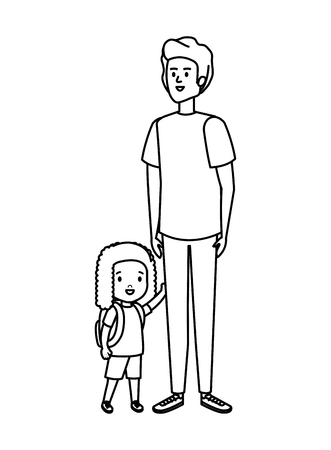 father with daughter characters vector illustration design Stock Illustratie