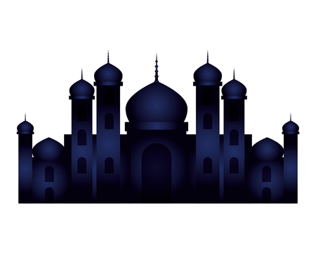 ramadan kareem zamek w nocy scena wektor ilustracja projekt