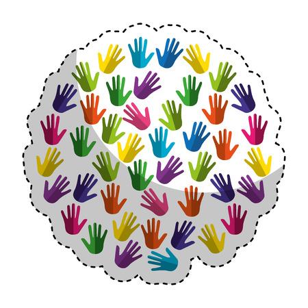 Hände drucken Farbe um Vektorillustrationsdesign