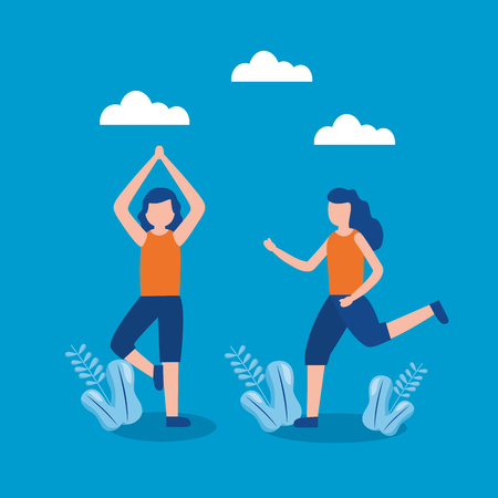 people practicing exercise world health day vector illustration Stock Illustratie