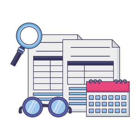 tax payment document calendar magnifier eyeglasses vector illustration  イラスト・ベクター素材