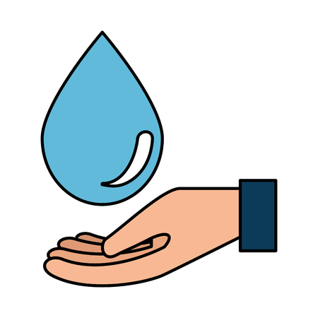 hand with water drop vector illustration design 일러스트