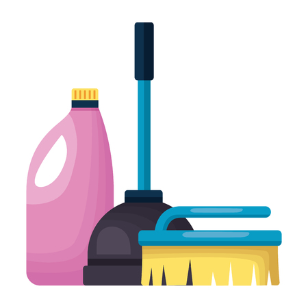 plunger brush detergent spring cleaning tool vector illustration Ilustrace