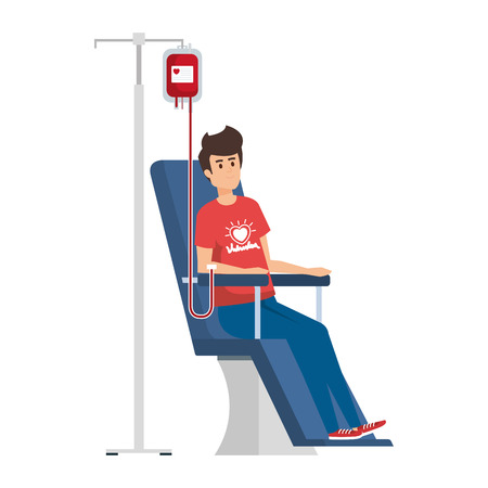 young man volunteer in donation chair vector illustration design