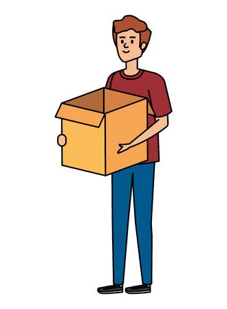young man lifting box carton vector illustration design