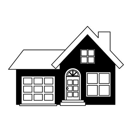 Extérieur de façade de maison sur fond blanc conception d'illustration vectorielle conception d'illustration vectorielle