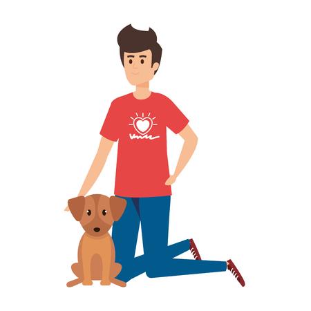 young man volunteer with cute dog vector illustration design Illustration