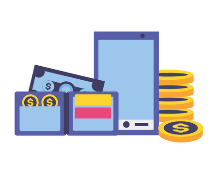 smartphone wallet money tax payment vector illustration  イラスト・ベクター素材