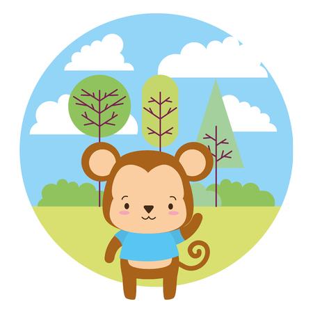 cute monkey cartoon landscape vector illustration design
