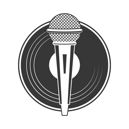 microphone and vinyl karaoke music vector illustration Illustration