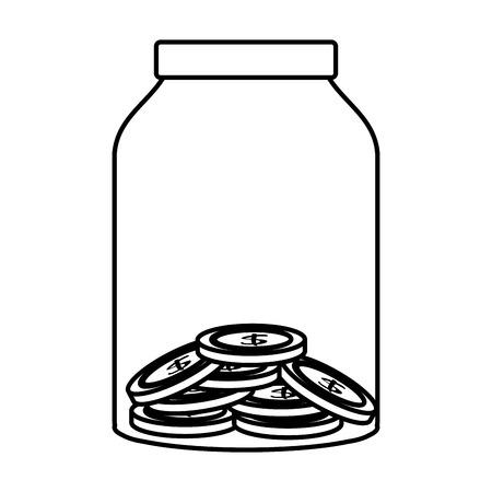 glass pot with coins vector illustration design Ilustração