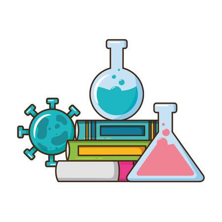 scuola scienza provette libri virus illustrazione vettoriale design Vettoriali