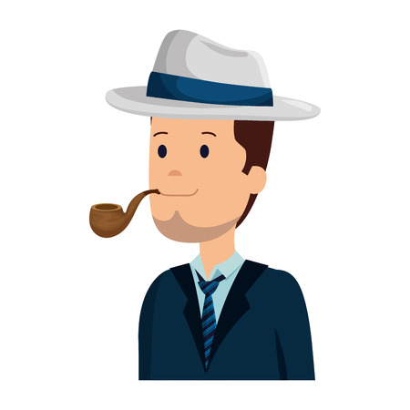 gentleman with elegant hat and pipe wooden vector illustration design