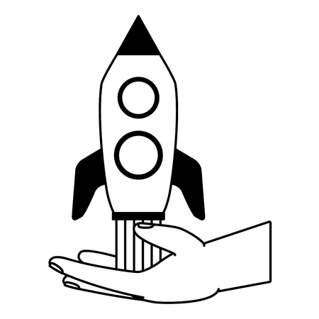 hand with rocket startup white background vector illustration Illusztráció