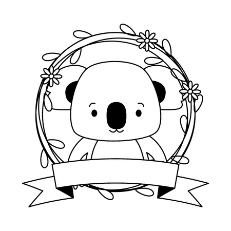 cute koala cartoon sticker flowers vector illustration design
