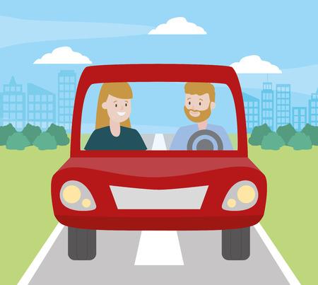 couple in the car white background vector illustration design Foto de archivo - 123056018